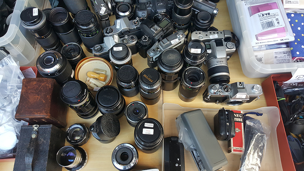 Buying cameras at a flea market