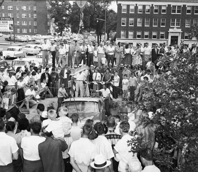 The crowd of Tulsa, OK, gather around the Beleveder as it gets lowered into the ground