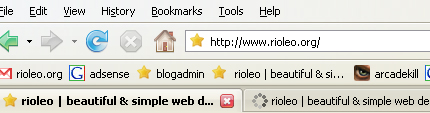 Screenshot of browser showing favicons