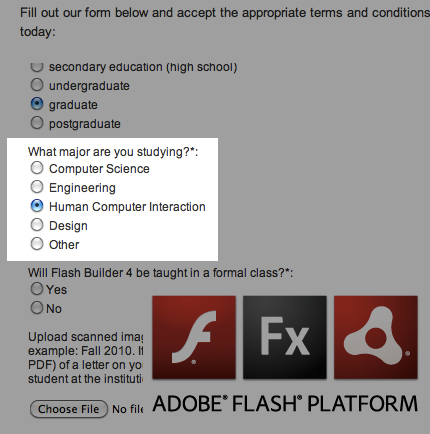 Adobe Flash Labs puts Human Computer Interaction as a major