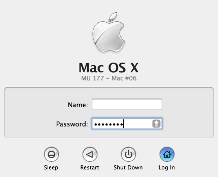 Mac log in screen