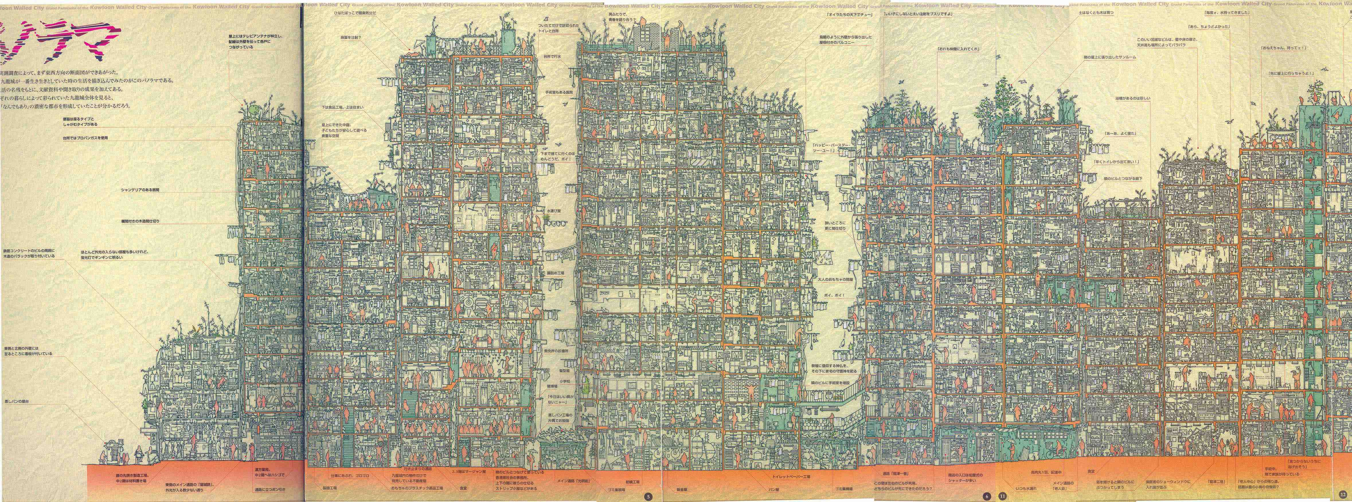 Kowloon Walled City - Crosssection drawn by Hitomi Terasawa